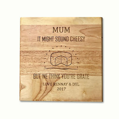 Personalised Square Wooden Cheese Board Wedding Mothers Day Gift with Knives