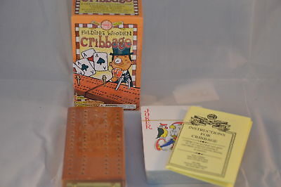 New Wooden Cribbage With Folding Board Playing Cards Pegs Yellow Box Hom