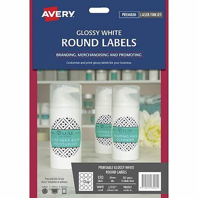 Label Avery L7105 White Glossy Round 60Mm 12Up 980001 Pk10