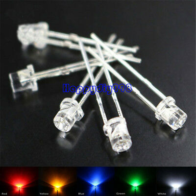 Led 3MM flat top Diodes 5 Colors 20 each red blue green yellow Emitting Diodes