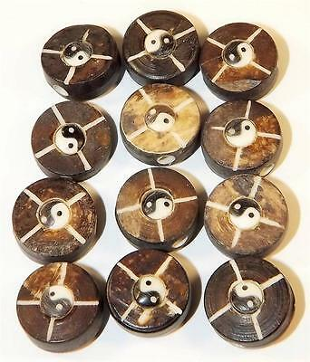 Lot of Vintage 12 Yin Yang Beads Ying Yang Made of Bone and Cattle Horn