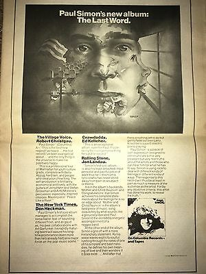 VINTAGE 1972 Paul Simon Debut Solo Album THE LAST WORD AD PINUP POSTER RECORDS