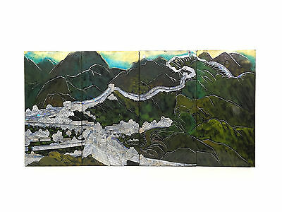 "Set of Four 24"" MOP Abalone Pearl Black Lacquer Wall Decor Panels / Art Plaques"