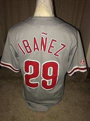 Ibanez Phillies MLB Baseball Top / Jersey Small By Majestic Grey #29