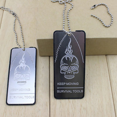 Outdoor Survival Kit 4 in 1 Multifunction Knife Survival Dog Tag Necklace New