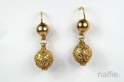 ANTIQUE ENGLISH VICTORIAN PERIOD 9K GOLD ORB DROP EARRINGS c1880's