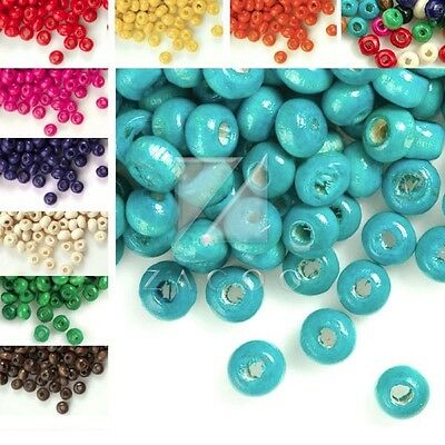 Wooden Wood Beads Spacer Round Loose Jewelry Findings Crafts Approx 1410pcs