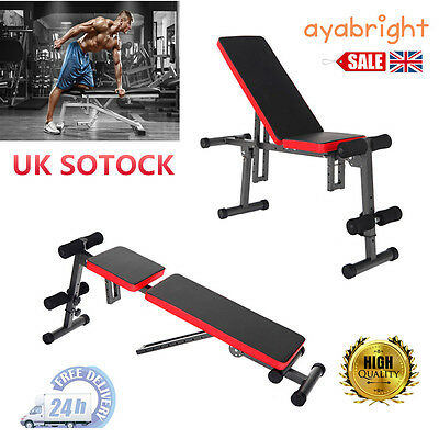 Folding Muscle Dumbbell Barbell Home Weight Lifting Gym Sit Up Exercise Bench UK