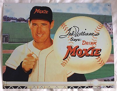 """Boston Red Sox Baseball """"TED WILLIAMS"""" Moxie Tin Metal Sign Advertisment"""