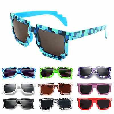 kids Unisex  Pixel 8 Bit Party Gamer Glasses Pixelated Style Square Sunglases