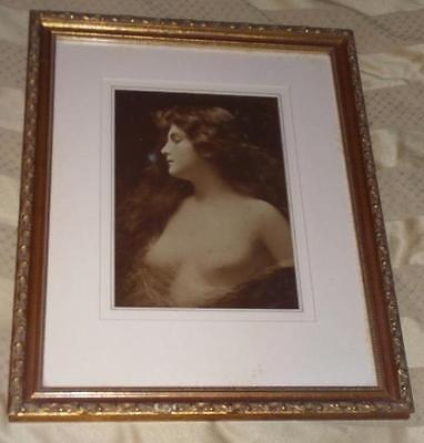 VINTAGE GOLD FLORENTINE ORNATE FRAME Victorian B & White Nude Woman Photograph
