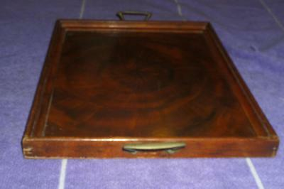 Vintage 1950's Art Deco TIMBER TRAY with BRASS HANDLES