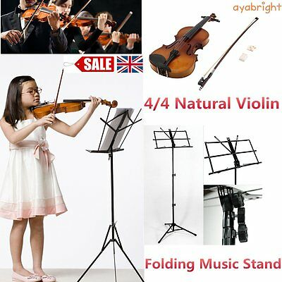 Beginners Acoustic Violin 4/4 Set Case Bow Rosin Bridge + Folding Music Stand AY