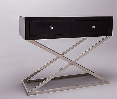 Venetian Black Mirror Cross Chrome Leg Console Table
