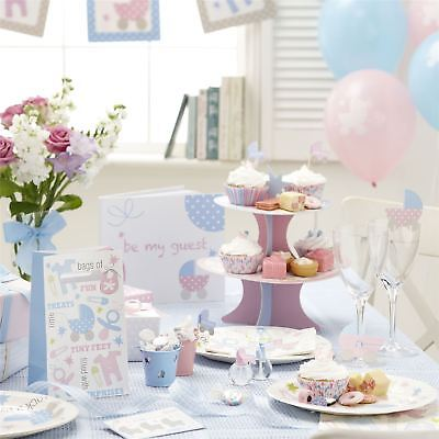 Tiny Feet Baby Shower Party Pink Blue Tableware Gender Reveal Decorations