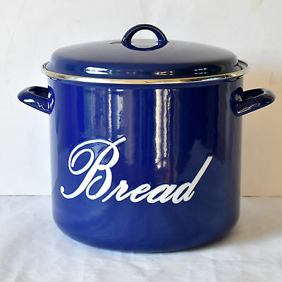 Original BLUE Enamel Bread Bin Embossed Lettering Storage Kitchenalia VGC