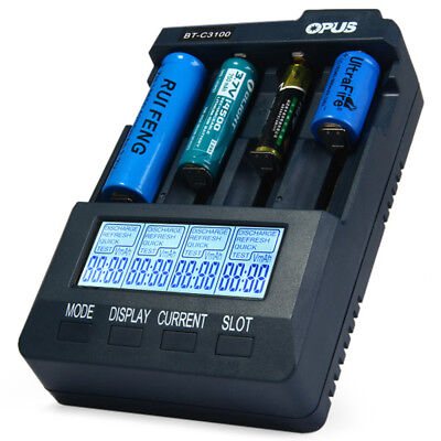 Opus BT-C3100 V2.2 Digital Smart with 4 Slots Cell LCD Battery Charger EU PLUG
