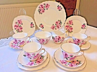 Pink Vintage Bone China Tea Set Trios Cake Plate Pansy Floral Bright Royal Vale