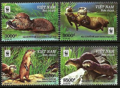 Vietnam 2016 Endangered Small Clawed Otters set of 4 with WWF Logo MNH