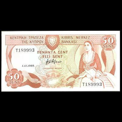 Cyprus 1989 50 Cents Banknote Unc