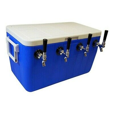 Jockey Box Cooler - 4 Faucet, 75' Stainless Coils, 48qt - All Stainless Fittings