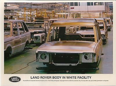 Land Rover body in white original colour Press Photograph on Production Line