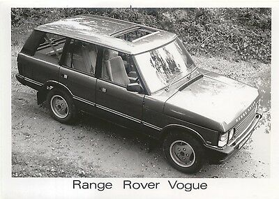 Range Rover Vogue original black & white Press Photograph showing roof open