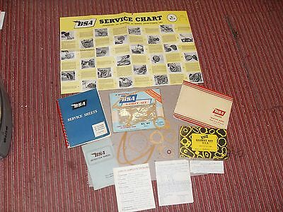 Original 1960's  BSA Service Sheets - Chart - Spares - Instructions - Gasket set
