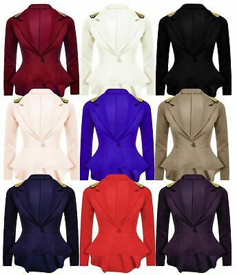 Ladies Women Casual Spike Studded Shoulder Peplum Frill Style Button Blazer Coat