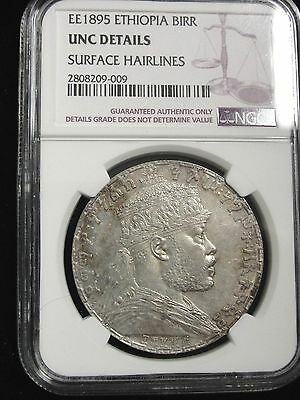 EE 1895 ETHIOPIA BIRR COIN GRADED UNC DETAILS by NGC