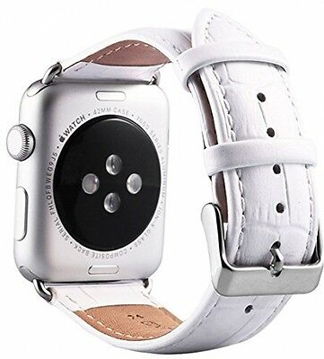 LUXURY GENUINE LEATHER Crocodile Croc Apple Watch iWatch Strap Band White 42mm