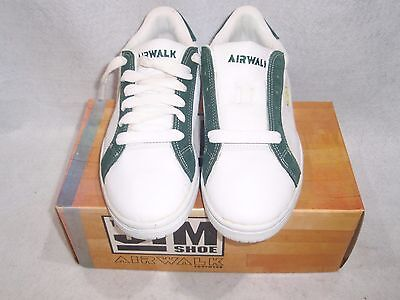 Nos Vintage 1994 Airwalk The Jim Shoe White/green Leather Size 7 Sk8 Bmx Shoes