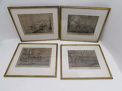 4 Antique Framed Henry Alkin Hunting Prints Drawn & Etched By Alkin