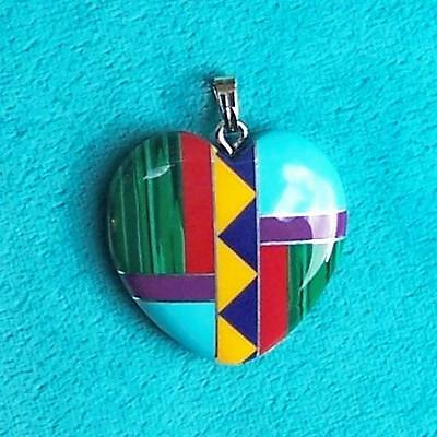 "Large ""love Heart"" Inlaid Native American Necklace Charm Pendant 30 Mm"