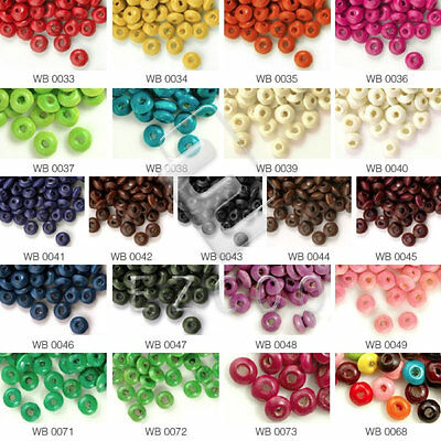 Rondelle Spacer Wooden Wood Dyed Loose Beads Jewelry Finding Making DIY 3x6mm
