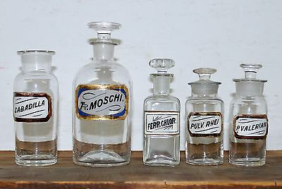 Lot of 5 Antique Apothecary Pharmacy GOLD LABEL bottles (4 with glass stoppers)