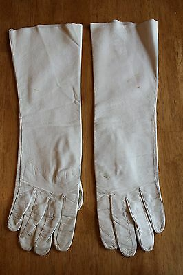 Vintage Hutzler's Brothers Co.  Ivory Leather Elbow Length Ladies Driving Gloves