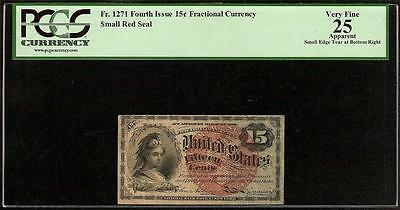 15 CENT FRACTIONAL CURRENCY UNITED STATES NOTE PAPER MONEY Fr 1271 PCGS GRADED