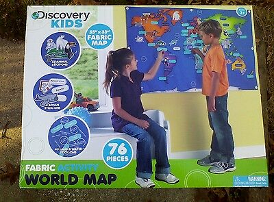 """55"""" Discovery Kids Activity World Map 76 Pc Velcro Stick On Animals Land Water"""