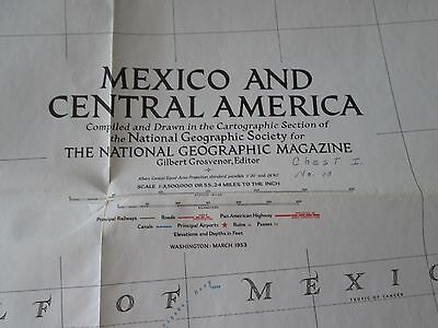 Mexico and Central America National Geographic Large Map March 1953