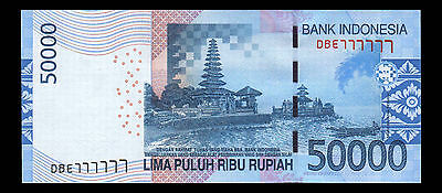 Indonesia Banknote 50000 Rupiah 2005/2016 Solid Number DBE 777777 - A330