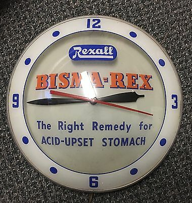 """Vintage Rare Double Bubble Rexall Drugs Lighted Advertising Clock 15"""" Keeps Time"""
