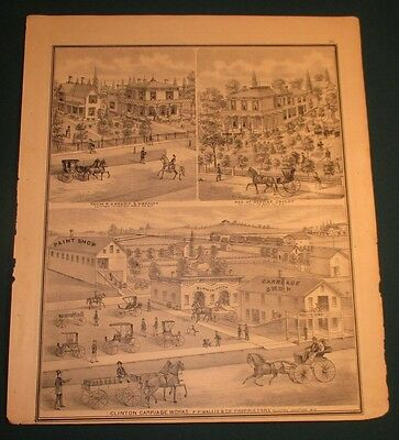 1871 Clinton Carriage Works Mfg Plant & Residences Clinton Junction WI Print