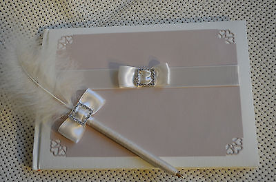 Luxury Handcrafted Wedding Guest book and Pen - Unique design with handmade box