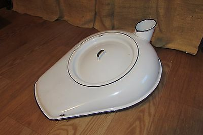 Vintage Enamel Bed Pan/Chamber Pot w/ Lid White Porcelain Dark Navy Edge #3056