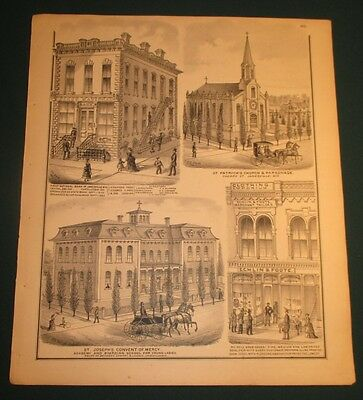 1871 1st National Bank St Pats Church St Joes Echlin Foote Janesville WI Print