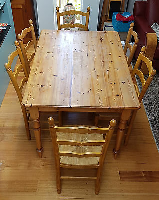 7 Piece Baltic Pine Farmhouse Table and Chairs