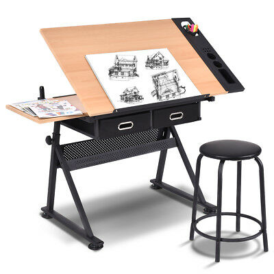 Tiltable Tabletop Drawing Table Home Office Durable W/ Stool And Two Drawers New