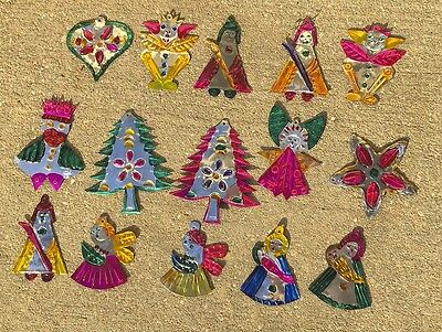 Vtg Mexican FOLK ART Punched TIN Christmas Ornaments Nativity Star Tree Wise Men