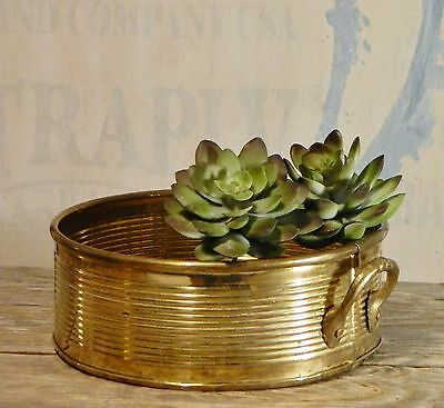 Vintage/Brass Planter/Low Bowl/Round/2-Handle/Ribbed/Shabby Cottage/BoHo Chic
